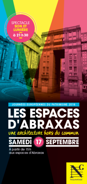 Les Espaces d'Abraxas forma parte de la lista de edificios y monumentos históricos incluidos en la edición de este año de las Jornadas del Patrimonio (Journées Européennes du Patrimoine 2016), que organiza el Estado francés desde 1984